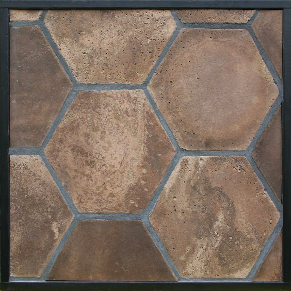 11'' Hexagon Cotto Dark Vintage(classic series) Laticrete 24 Natural Gray Grout