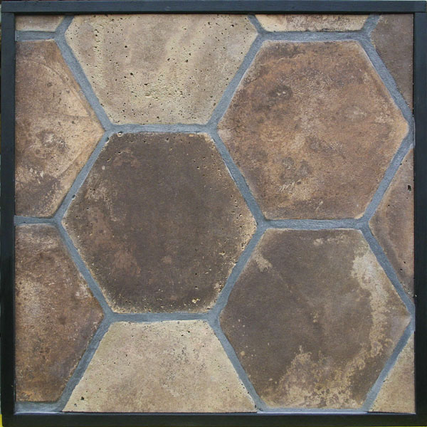 11'' Hexagon Tuscan Mustard Vintage(classic series) Laticrete 24 Natural Gray Grout