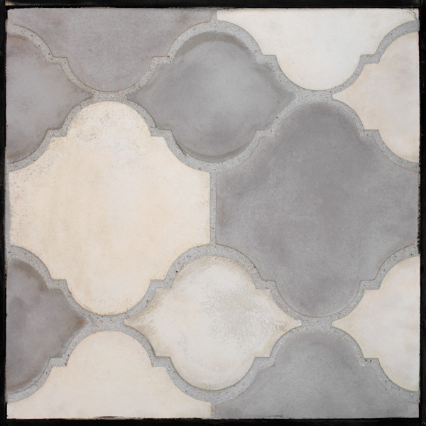 Arabesque 5b- Tres Grises-Early Gray, Natural Gray and Sidewalk Gray (signature series) Laticrete 24 Natural Gray Grout