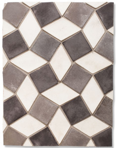 BB95 3x5 Diamond early Gray & 3x3 Artillo Montage Gray(early/natural/sidwalk/charcoal GRAY) -Grout Used: Laticrete 24 Natural Gray