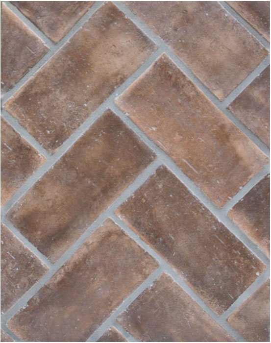 4x8 Smooth Brick Cotto Dark(classic series)Laticrete 24 Natural Gray Grout