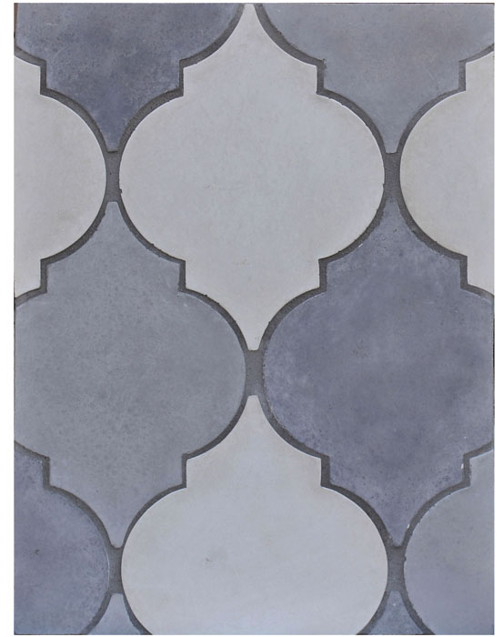 BB38 Arabesque 5a Tres Grises- Early Gray, Natural Gray and Sidewwalk Gray (signature series) Laticrete Grout used: 24 Natural Gray