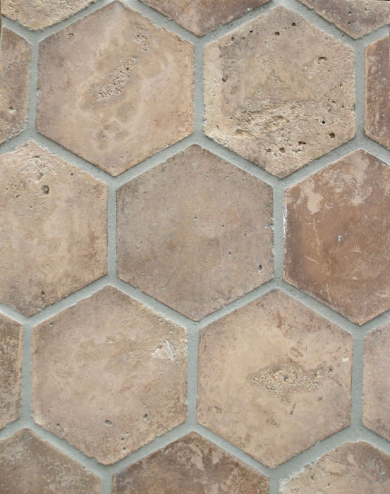 6'' Hexagon Cotto Dark(classic series)Vintage-Laticrete 24 Natural Gray Grout