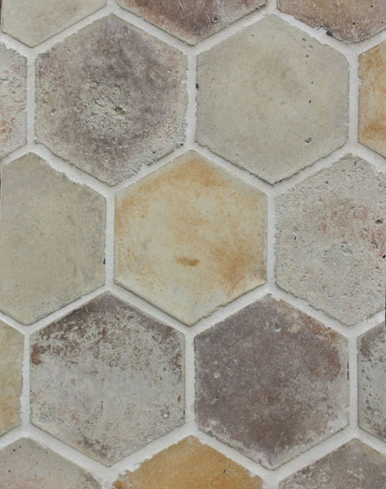 6'' Hexagon Creme Fraiche Vintage(signature series)Laticrete 18 Sauterne Grout used