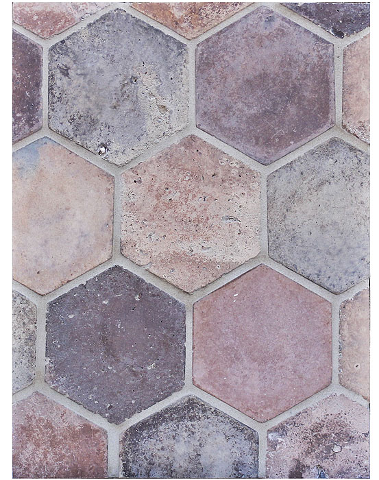 6'' Hexagon Normandy Cream. Grout Used: Laticrete 81 Butter Cream