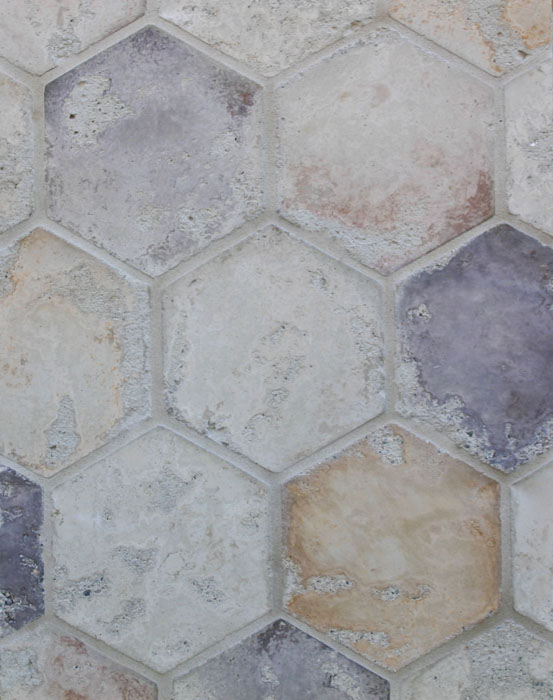 6'' Hexagon Creme Fraiche Blend(signature series)Laticrete 18 Sauterne Grout