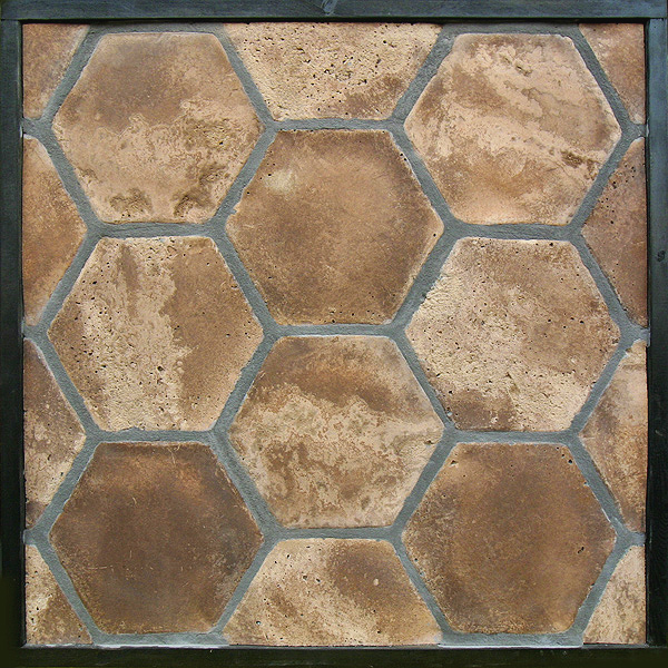 8'' Hexagon Cotto Dark Vintage(classic series)Laticrete 24 Natural Gray Grout