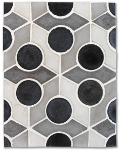 Arabesque Pattern 9b Montage Gray- Charcoal Dots, Natural Gray, Early Gray and Sidewalk Gray Spears(signature series)Laticrete 44 Bright White Grout