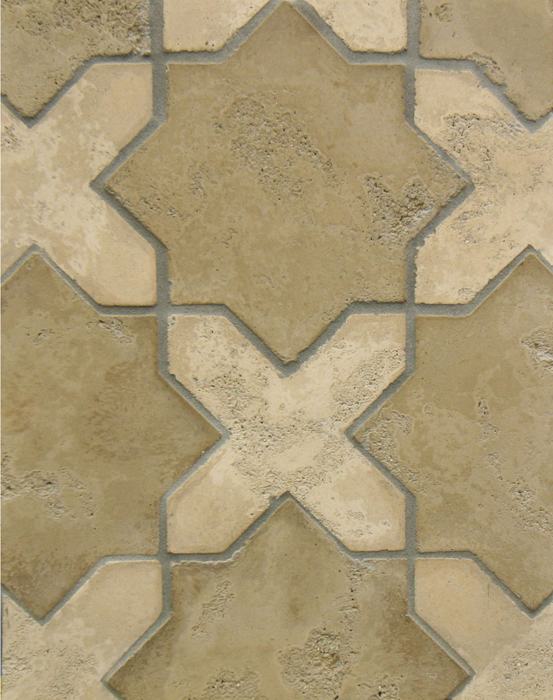 Arabesque Pattern 2c Caqui(premium series) Star, Old California(premium series) Cross Limestone-Laticrete 24 Natural Gray Grout