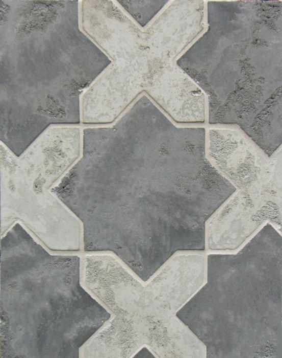 Arabesque Pattern 2c Smoke Gray(premium series) Star, Early Gray(premium series) Cross Limestone-Laticrete 24 Natural Gray Grout