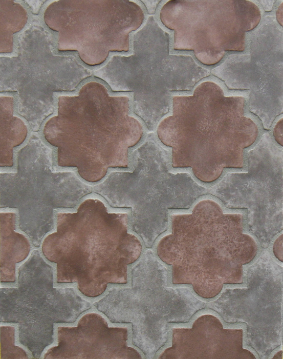 Arabesque Pattern 8c Charley Brown/City Hall Red (premium series)Laticrete 24 Natural Gray Grout