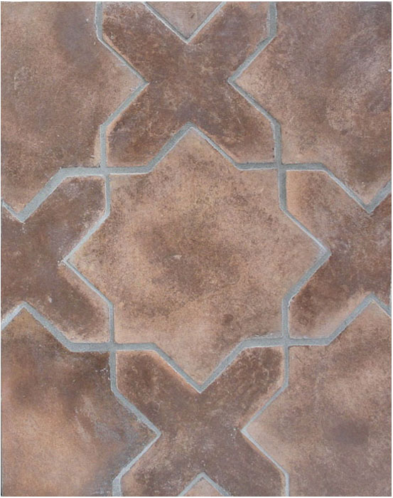 Arabesque Pattern 2c Cotto Dark(classic series)Laticrete 24 Natural Gray Grout