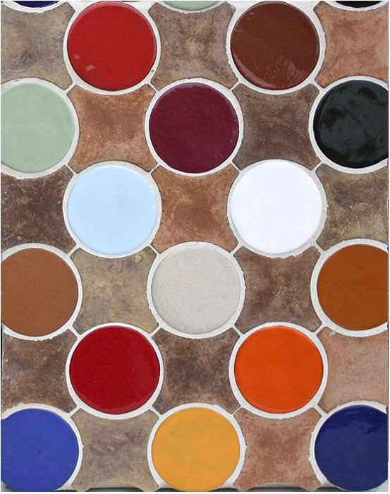 Arabesque Pattern 9a Josie Blend (premium series) Stars, Assorted Glazes Clay Dots-Laticrete 44 Bright White Grout