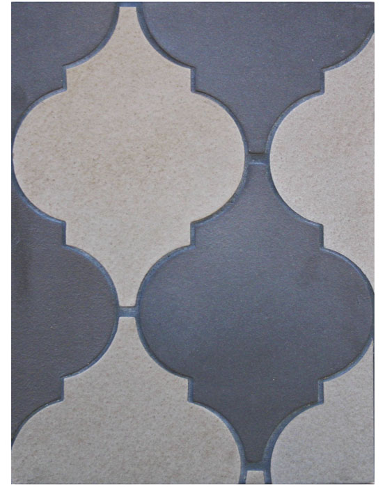 BB156 Arabesque Pattern 5A- Ash Gray& Chocolate-Grout Used: Laticrete 22 Midnight Black