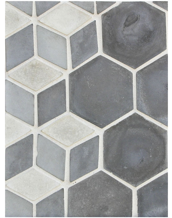 BB157 Mini Diamond-3 Grises and 6'' Hexagon Siedewalk Gray-Grout Used: Laticrete 18 Sauterne