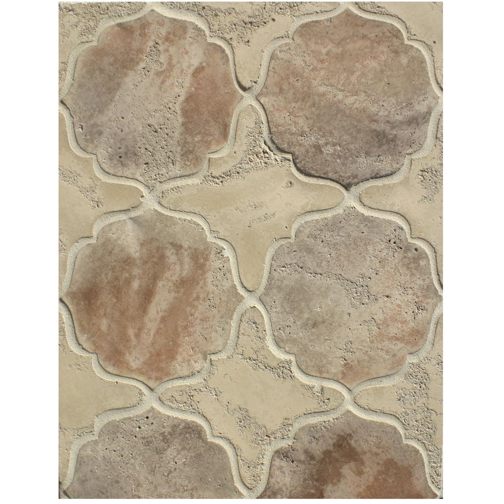 BB225 Arabesque Pattern 13-Hacienda Limestone & Beachwood Flash Limestone