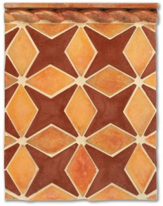 Arabesque Pattern 4, Rope Liner Artillo/Mission Red(premium series)Laticrete 18 Sauterne Grout