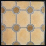 Granada Hacienda(premium)  with  3x3 Round Caqui Dots(premium series)Laticrete 24 Natural Gray Grout