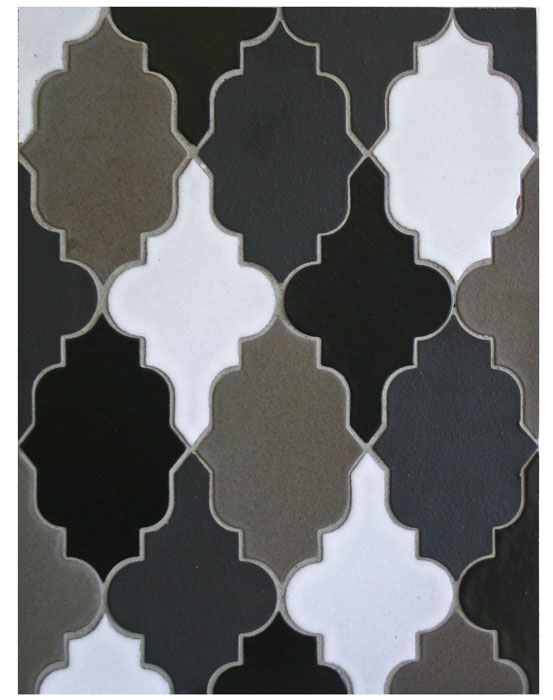 BB152 Clay Arabesque Pattern 12- Verona Blend(chocolate,ash gray,433uH & great white)-Grout Used: Laticrete 24 Natural Gray
