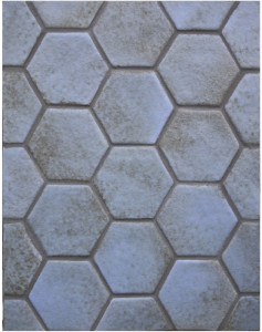 BB133 4'' Oleson Hexagon- Black & Blue-Grout Used: Laticrete 59 Espresso
