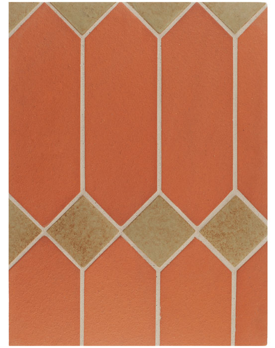 BB94 4x12 Monrovia Picket Red & 3x3 Monrovia Light Copper-Laticrete Grout Used:24 Natural Gray