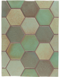 BB96 4'' Oleson Hexagon- Blend 2(Light Copper, Copper, Chrome & Elder Green)-Grout Used: Laticrete 59 Espresso