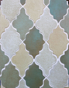 Clay Arabesque Pattern 12 Malaga Blend(copper,light copper,walnut spice,yellowstone)Laticrete 44 Bright White grout