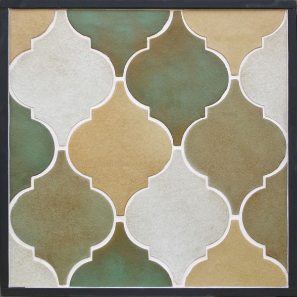 Clay Arabesque 5a Malaga Blend(copper, light copper, walnut spice, yellowstone)Laticrete Grout 44 Bright White