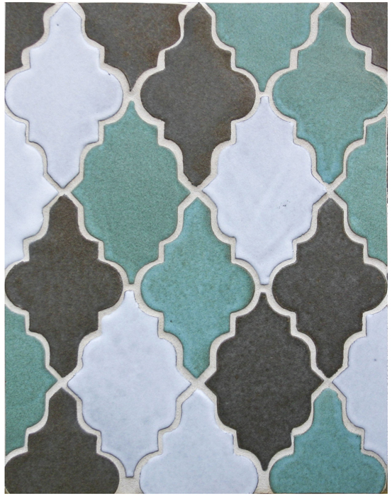 BB132 Clay Arabesque Pattern 12- Argyle Blend(5503u, 405c and Studio WHITE)-Grout Used: Laticrete 18 Sauterne