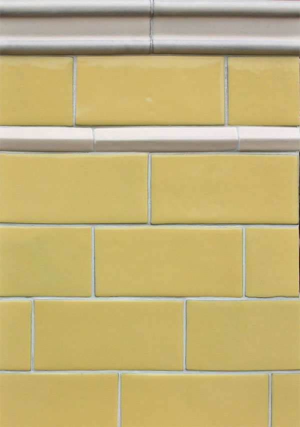 3x6 Lemon Scent Field Tile, White Bread Moulding A and 1'' White Bread Pinnacle Liner