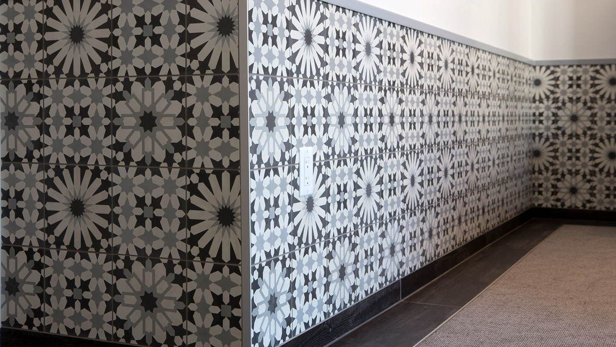 indochine cement tiles are featured throughout the rooms and public spaces along with concrete tile accents from our artillo series