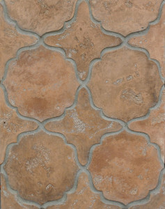 BB13 Arabesque Pattern 13 Spanish Cotto Limestone-Grout Used: Laticrete 24 Natural Gray