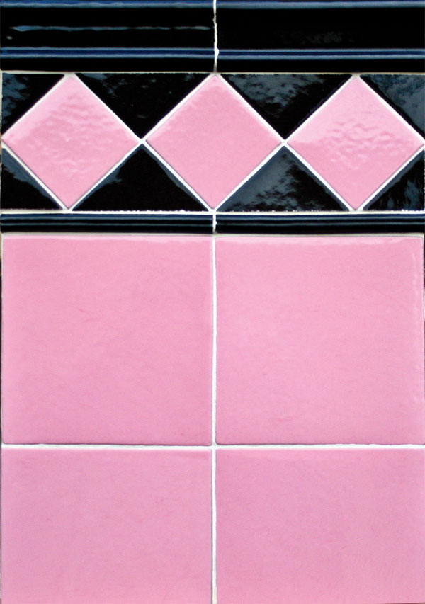 4x4 Bubble Gum/Licorice Field Tile, 6x6 Bubble Gum Field Tile, Licorice Moulding A and 1/2 Licorice Grooved Pencil Liner